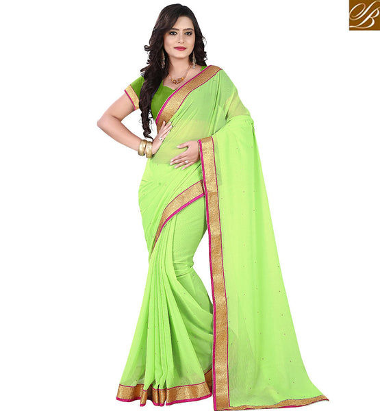 STYLISH BAZAAR ENTHRALLING SINGLE COLOR SARI WITH LACE BORDER VDPCK10082