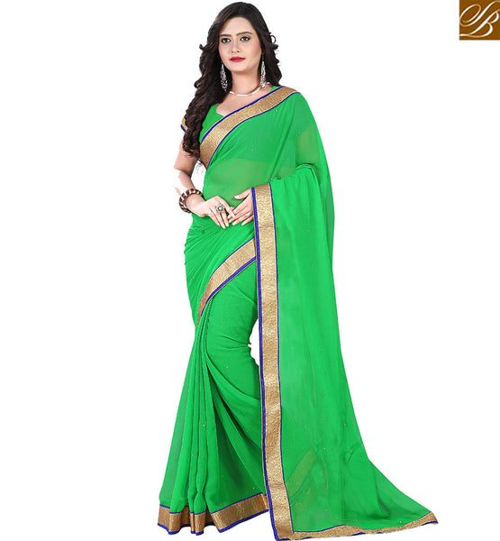 EXQUISITE SINGLE COLOR ONLINE INDIAN SARI WITH LACE BORDER VDPCK10084