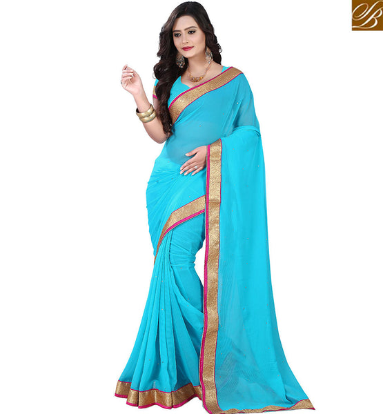 STYLISH BAZAAR GRACEFUL BLUE COLOR INDIAN SARI VDPCK10088