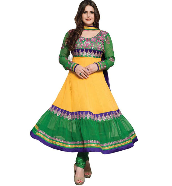 BOLD YELLOW & GREEN COLOR ZAREEN KHAN ANARKALI SUIT RTZA1008 - stylishbazaar - Zarine Khan, Zareen Khan, Bollywood Salwar Kameez, Bollywood Anarkali Suits,, Online Salwar suits Shopping, online shopping for Salwar suits, Anarkali Suits buy online, buy georgette salwar kameez online, Salwar Kameez Online Shopping, buy online Salwar Kameez, Surat Salwar Kameez