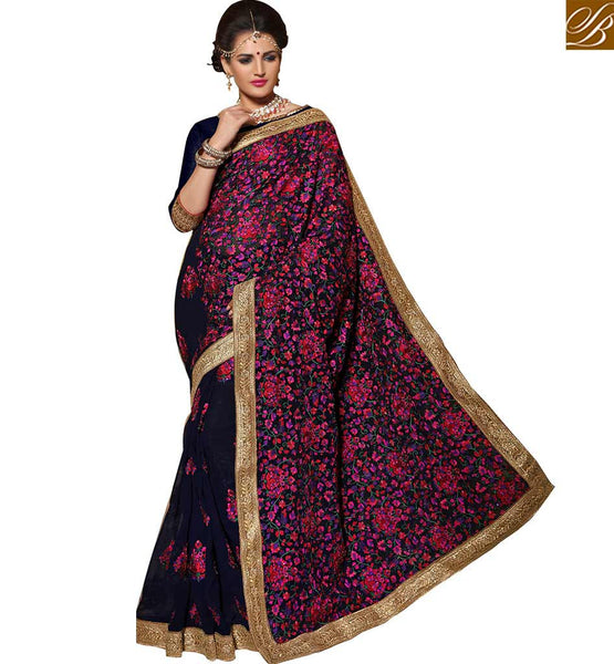 STYLISH BAZAAR PRETTY FLOWER PATTERNED GEORGETTE DESIGNER SARI BLOUSE KLIS1008