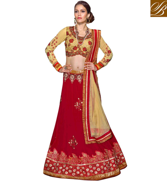 STYLISH BAZAAR RED & CREAM WEDDING ANMOL COLLECTION LENGHA CHOLI