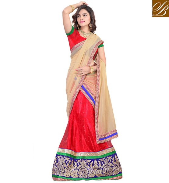 CHANIYA CHOLI BLOUSE PATTERN WITH BLOUSE  DESIGNER INDIAN DRESS RED NET LEHENGA WITH JACQUARD CHOLI AND CREAM CHIFFON HALF-SAREE