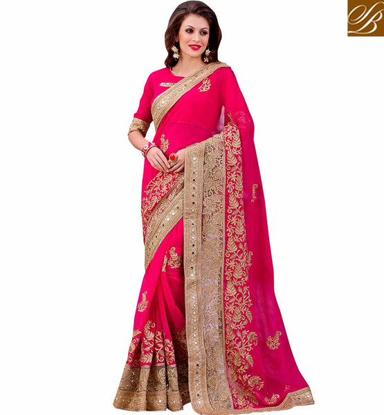 FROM THE HOUSE  OF STYLISH BAZAAR APPEALING DESIGNER PINK SAREE AND BLOUSE FOR SPECIAL EVENTS VDMIZ1008