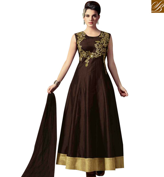 STYLISH BAZAAR DAZZLING BROWN SILK EMBEDDED ANARKALI SALWAR KAMEEZ ATTIRE WITH GOLD LACE BORDER SLMKT1008