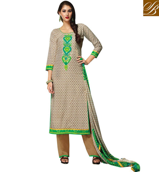 INDIAN-FROCKS-DESIGN-2015-BEST-SUITS-SHALWAR-KAMEEZ-DESIGNER-DRESS-FOR-WOMEN-COOL-CHIKOO-COTTON-TOP-WITH-COMFORTABLE-SALWAR-AND-EXCITING-CHIFFON-DUPATTA