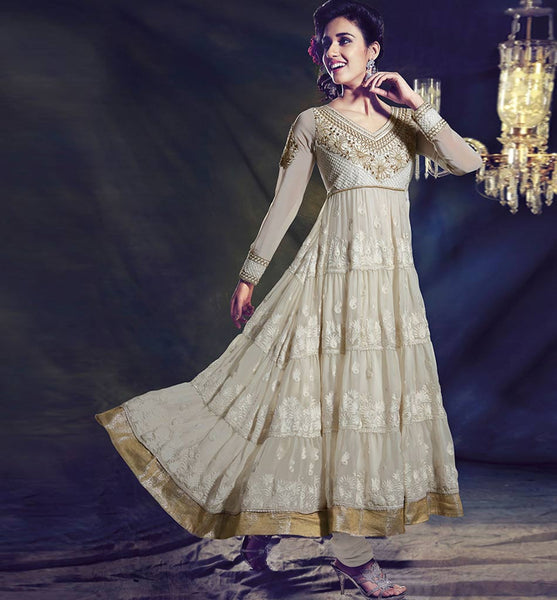 AWESOME OFF-WHITE  FULL LENGTH GEORGETTE ANARKALI CHURIDAR SUIT 1446