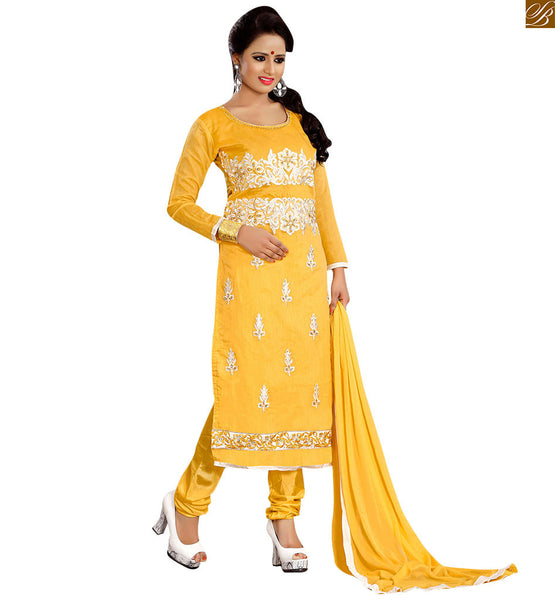 Formal suits indian salwar kameez designs latest fashion dress yellow cotton stone work and heavy floral embroidered salwar kameez with yellow churidar bottom Image