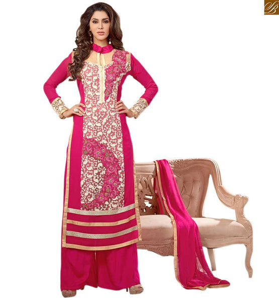 Photo of Hot salwar kameez design 2015 fashions best and beautiful suit pink faux-georgette floral and kerry style embroidered salwar kameez with matching santoon bottom