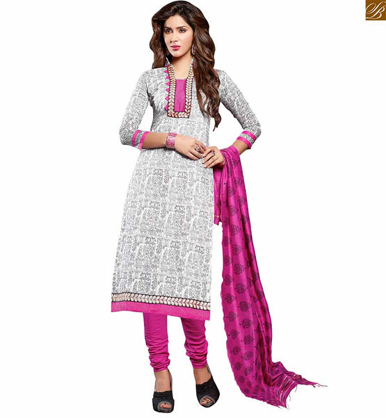 Latest punjabi suit designs of salwar kameez 2015 casual dress off-white chanderi-cotton high neck designer dress with floral embroidery patch work on neck line Image