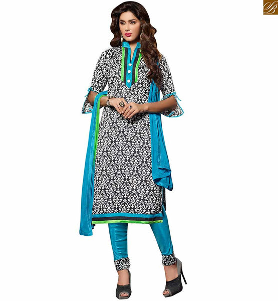 Punjabi salwar kameez dress for working women's office wear black bhagalpuri-silk straight cut high neck designer salwar kameez with sky-blue cotton bottom Image
