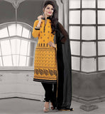 SHALWAR KAMEEZ DESIGNS OF BEST DRESSES INDIAN CHANDERI COTTON YELLOW STRAIGHT CUT SUIT WITH BLACK SALWAR AND CHIFFON DUPATTA