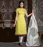 SHALWAR KAMEEZ DESIGNS OF TRENDY INDIAN SUITS YELLOW CHANDERI COTTON TOP WITH OFF-WHITE SANTOON BOTTOM AND NAZNEEN ODHNI