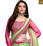 AWESOME 3PC GREEN & PINK WEDDING WEAR ANMOL COLLECTION LENGHA CHOLI