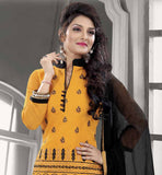 CHANDERI COTTON YELLOW STRAIGHT CUT SUIT WITH BLACK SALWAR AND CHIFFON DUPATTA THIS GORGEOUS DRESS HAS UNIQUE DESIGN EMBROIDERY WORK ON IT AND GOOD COLOR COMBINATION ADDS MORE CHARM TO