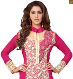 Image of Indian hot salwar kameez design 2015 fashions best and beautiful suit for special moment pink faux-georgette floral and kerry style embroidered salwar kameez with matching santoon bottom