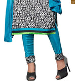 Black bhagalpuri-silk straight cut high neck designer salwar kameez with sky-blue cotton bottom Pic