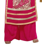 Photo of Pink faux-georgette floral and kerry style embroidered salwar kameez with matching santoon bottom