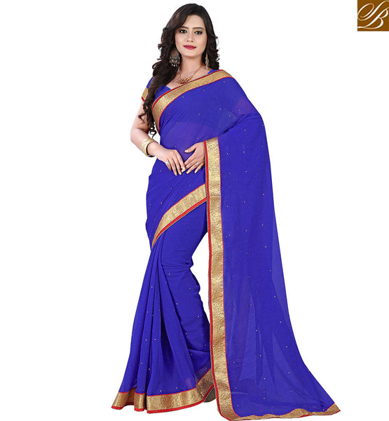 STYLISH BAZAAR IDEAL SINGLE COLOR SARI WITH LACE BORDER VDPCK10090