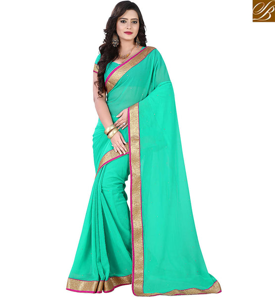 STYLISH BAZAAR INVITING SINGLE COLOR SAREE WITH LACE BORDER VDPCK10091