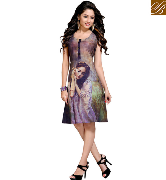 FROM THE STYLISH BAZAAR ELITE DIGITAL DESIGNER FIGURE PRINT ONLINE KURTI VDMBL10099