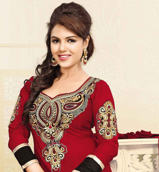 MAROON COTTON ANARKALI DRESS