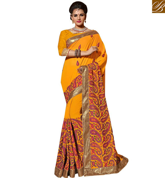 FROM THE HOUSE  OF STYLISH BAZAAR CUTE BEAUTIFULLY PRINTED YELLOW SARI BLOUSE DESIGN KLIS1009