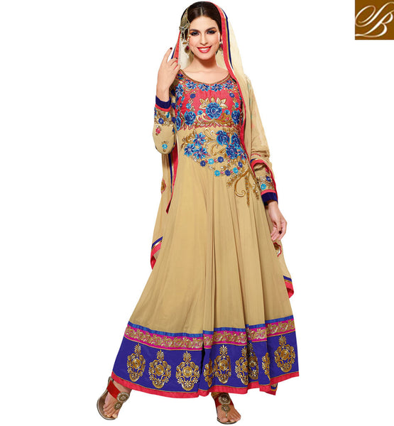 APPEALING CREAM GEORGETTE ANARKALI SUIT RTZO1009 - STYLISHBAZAAR - salwar kameez online shopping, designer salwar kameez online, online shopping for salwar kameez, salwar kameez shop online, salwar kameez designs, Designer Party Wear Salwar Kameez, Salwar kameez for Parties, Partywear Salwar Kameez, Anakali suits, Designer Anarkali Suits, Partywear Anarkalis, Zariwork Salwar Suits,