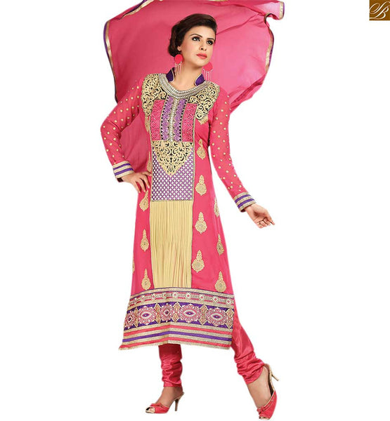 Neck designs for salwar kameez with borders latest fashion dress pink and cream georgette heavy floral embroidered salwar kameez with matching churidar bottom Image