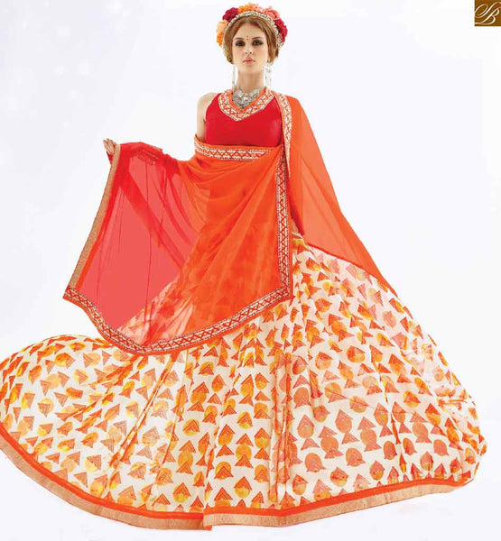 Half and half saree designs to drape with fancy blouse patterns orange, white and maroon georgette half and half printed saree with maroon designer art silk blouse