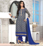 SHALWAR-KAMEEZ-DESIGNS-BEST-OF-2015-PAKISTANI-FASHION-TRENDS-OF-DESIGNER-LADIES-SUITS-SUPERB-GREY-JUTE-COTTON-TOP-WITH-NAVY-BLUE-BOTTOM-AND-AWESOME-CHIFFON-DUPATTA