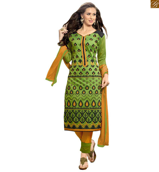 Straight cut green chanderi salwar kameez for casual wear green chanderi full floral embroidered long salwar kameez. This dress at princess cut neck design with piping work and long sleeves Image