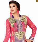 An eye-catching neck designs for salwar kameez with borders that beautifies the outfit. Highly recommended latest fashion dress for richest personality pink and cream georgette heavy floral embroidered salwar kameez with matching churidar bottom Photo