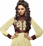 Cream faux-georgette dhoti type embroidered kurti with chinese piping collar and shirt type long sleeves photo