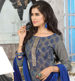 SUPERB-GREY-JUTE-COTTON-TOP-WITH-NAVY-BLUE-BOTTOM-AND-AWESOME-CHIFFON-DUPATTA-WIN-HEARTS-BY-WEARING-DRESS-ENRICHED-WITH-ZARI,-RESHAM-EMBROIDERY-AND-LACE-BORDER