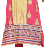 Pink and cream georgette heavy floral embroidered salwar kameez with matching churidar bottom Pic