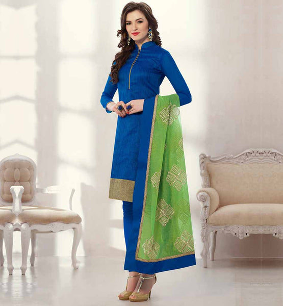 ELEGANT SALWAR KAMEEZ FOR OFFICE GOING WOMEN BLUE COLOR BANARASI CHANDERI JACQAURD SUIT WITH SANTOON FABRIC BOTTOM