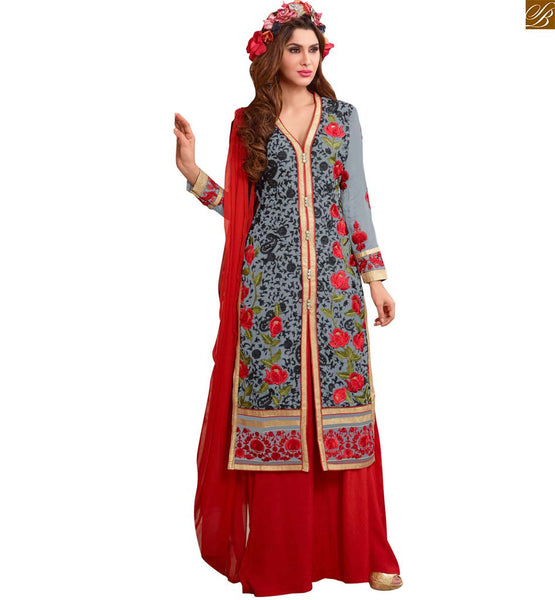 Photo of Formal dresses indian salwar kameez designs of girl suits set grey faux-georgette floral embroidered kameez with zari patch work and red santoon palazzo bottom
