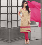 KAMEEZ DESIGNS OF STYLISH FASHION TREND OF 2015  CHANDERI COTTON BEIGE STRAIGHT CUT SUIT WITH PINK SALWAR AND CHIFFON DUPATTA