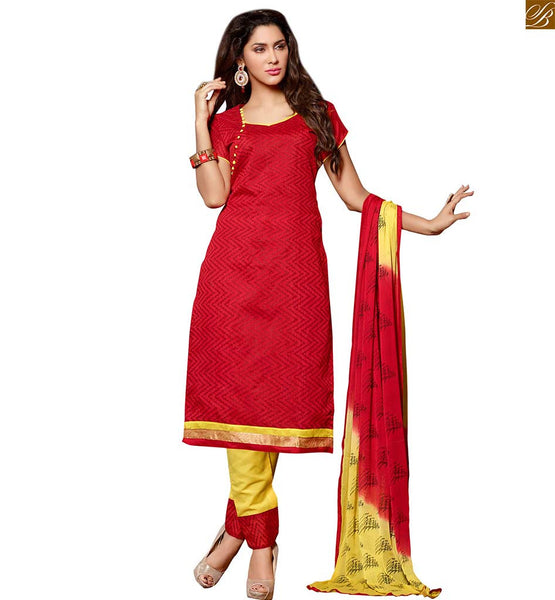Punjabi clothes straight cut long salwar kameez suit for girls red chanderi-cotton printed dress with piping patch work on neck line and yellow cotton bottom Image