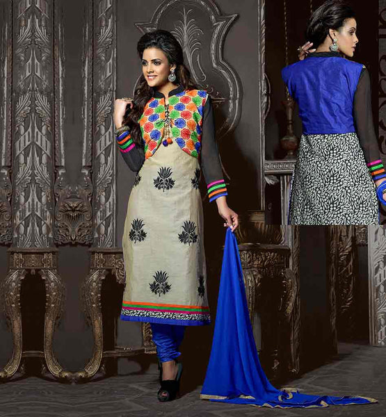 SHALWAR KAMEEZ DESIGNS OF BEST INDIAN FROCKS BEIGE CHANDERI COTTON TOP WITH BLUE SANTOON BOTTOM AND NAZNEEN ODHNI