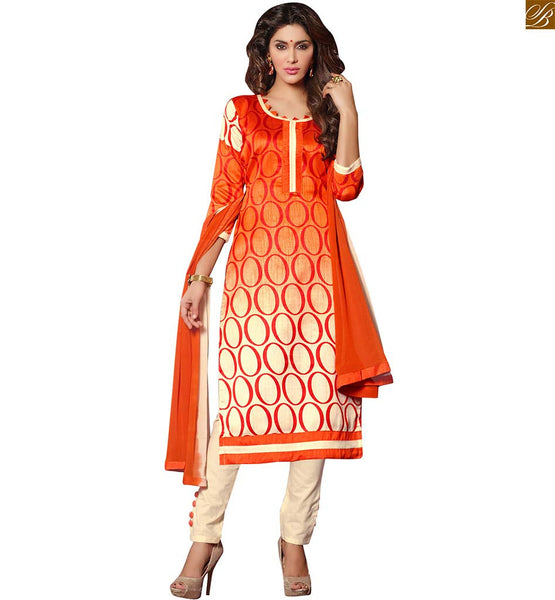 Stylish ladies suits pakistani dress design salwar kameez online orange and cream bhagalpuri-silk abstract printed salwar kameez with cream cotton bottom and buttons Image