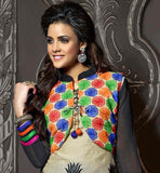 BEIGE CHANDERI COTTON TOP WITH BLUE SANTOON BOTTOM AND NAZNEEN ODHNI MULTICOLORED KATHIYAWAD INSPIRED KOTTY DESIGN WITH EMBROIDERY WORK & PRINTED KURTI
