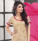 CHANDERI COTTON BEIGE STRAIGHT CUT SUIT WITH PINK SALWAR AND CHIFFON DUPATTA THIS DRESS HAS BEIGE EMBROIDERY WORK OVER IT WITH COPPER & PINK COLOR LACE BORDER WORK AT HEMLINE