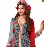 Image of Lovely formal dresses indian salwar kameez designs of girl suits set online shopping grey faux-georgette floral embroidered kameez with zari patch work and red santoon palazzo bottom