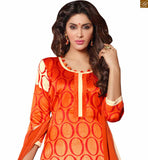 New collection of stylish ladies suits pakistani dress design salwar kameez online shopping orange and cream bhagalpuri-silk abstract printed salwar kameez with cream cotton bottom and buttons Photo