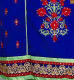 Blue cotton beautiful stone work and floral embroidered salwar kamez with light-green churidar bottom Pic