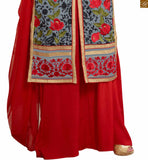 Photo of Grey faux-georgette floral embroidered kameez with zari patch work and red santoon palazzo bottom