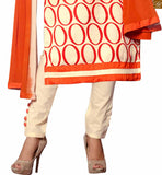 Orange and cream bhagalpuri-silk abstract printed salwar kameez with cream cotton bottom and buttons Pic
