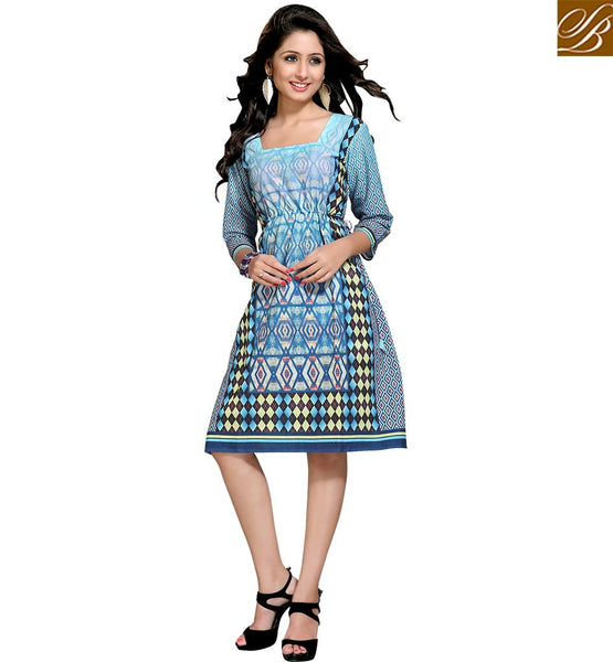 FROM THE HOUSE  OF STYLISH BAZAAR GLAMOROUS GEOMETRICAL DESIGN TRAIL STRAIGHT CUT ONLINE KURTI VDMBL10100